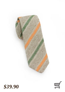 Oatmeal-Striped Tie With Stripes