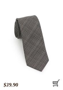 Skinny Textured Tie in Brown