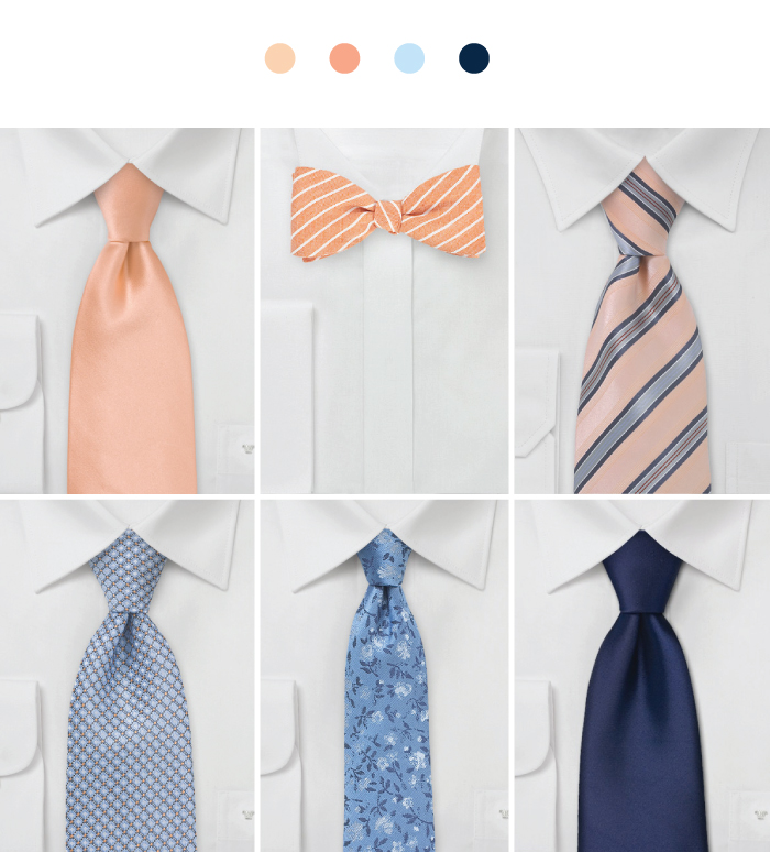 Designer Groomsmen Accessories in Peach + Blue