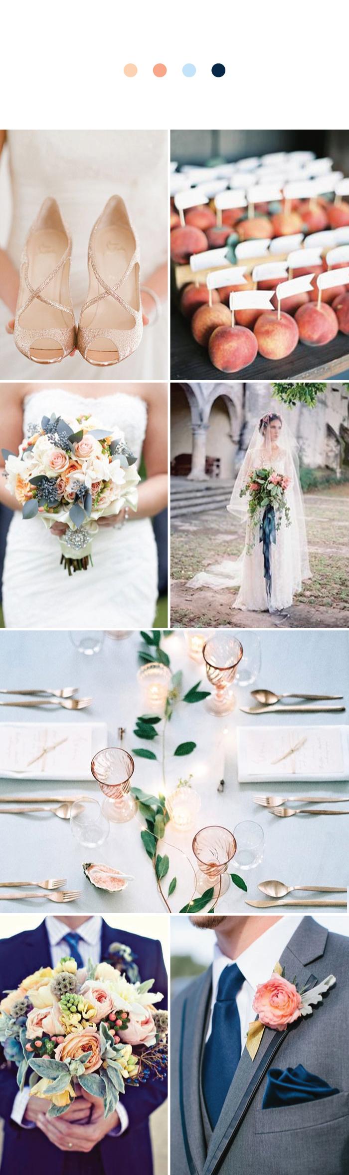 Wedding Ideas for Peach + Blue Wedding