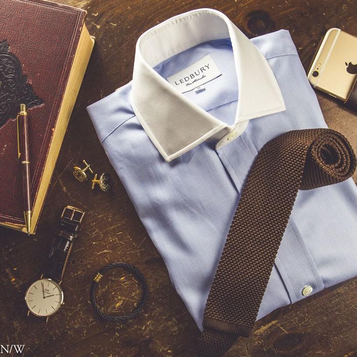 Dark Brown Knit Tie and Blue Shirt