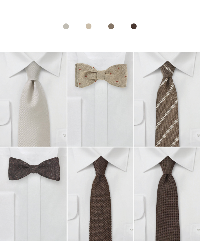 Neutral Ties for Barn Weddings
