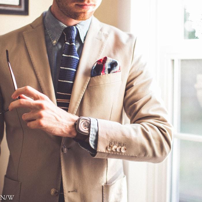 Knit Tie, Denim Shirt and Blazer