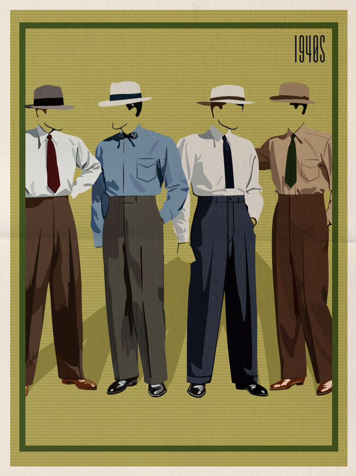 Menswear Fashion Styles Of The 1940 39 S Tie Styles From