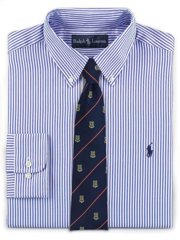 Striped Shirt + Crested Tie