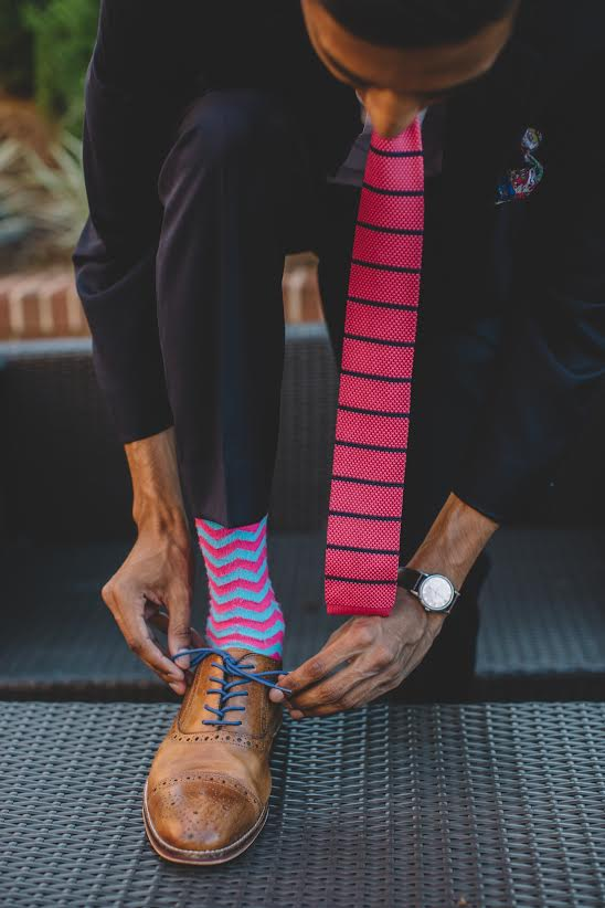 Pink and Blue Knit Tie