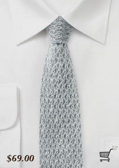 gray knitted skinny cashmere tie