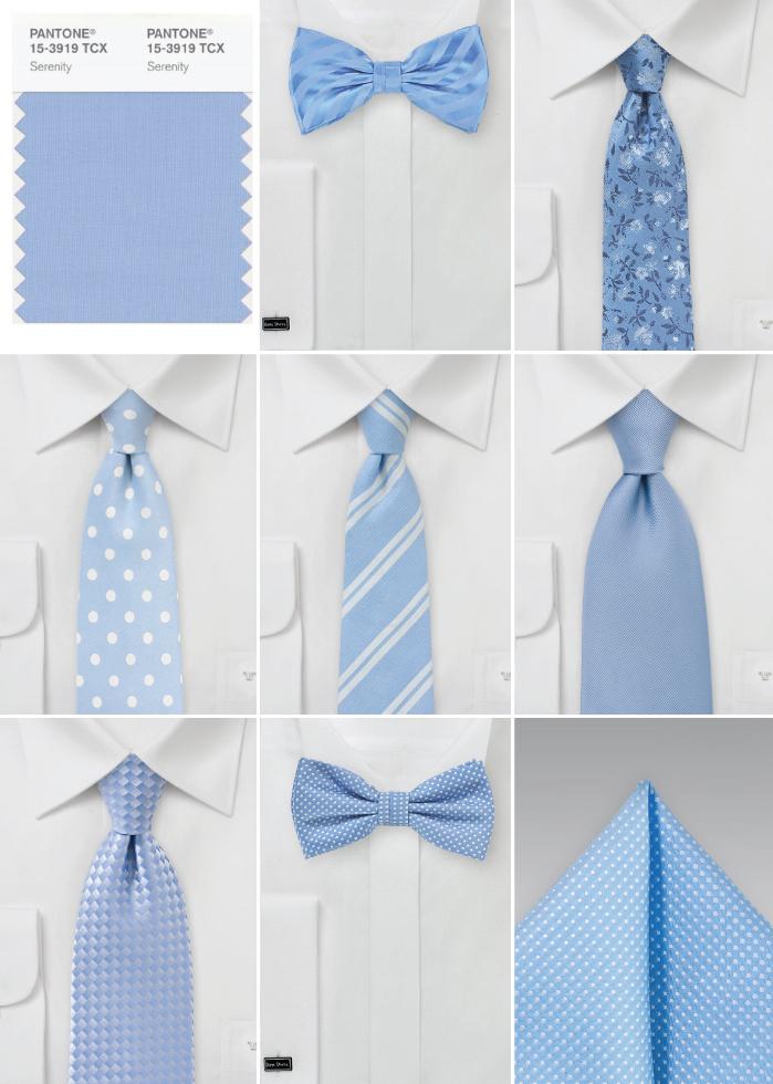 Ties an Bow Tie in Serenity Blue