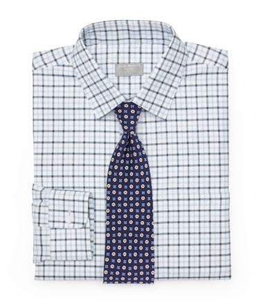Foulard Tie and Plaid Shirt