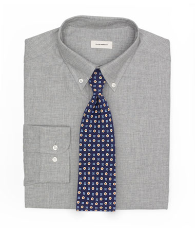 Textured Gray Button Down Shirt and Foulard Tie
