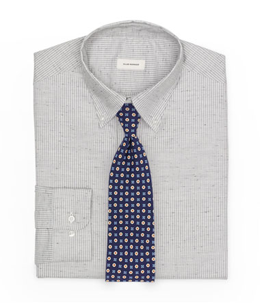 Foulard Tie Paired With Cotton Button Down