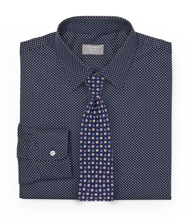 Navy Pin Dot Shirt and Foulard Tie