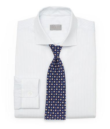 Striped Dress Shirt and Foulard Tie