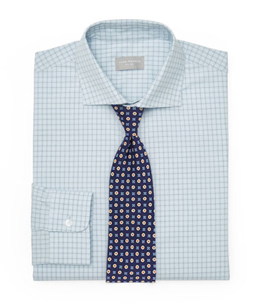 Foulard Tie and Patterned Blue Shirt