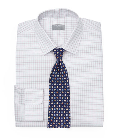 Dress Shirt + Blue Foulard Tie