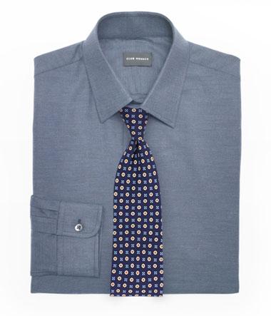 Dusty Blue Dress Shirt and Foulard Tie