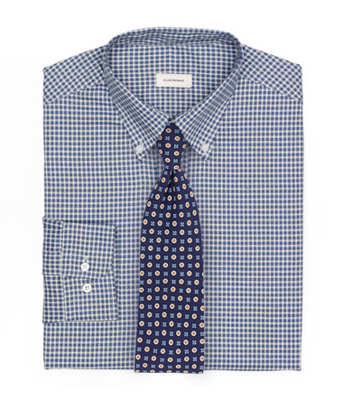 Patterned Blue Shirt and Foulard Tie