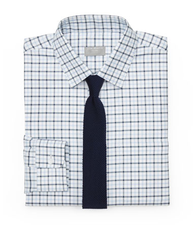Checkered Shirt and Navy Knit Tie
