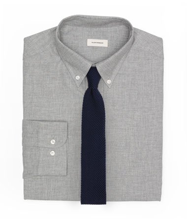 Heathered Gray Shirt and Knit Tie