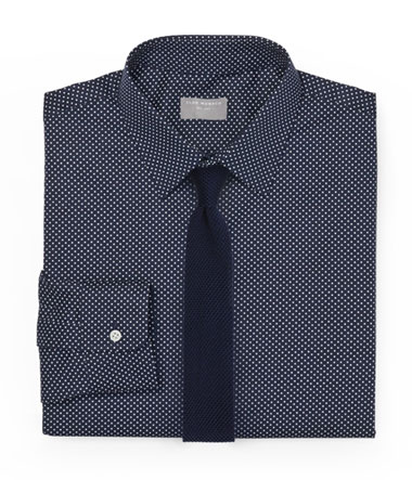 Navy Dress Shirt and Navy Knit Tie