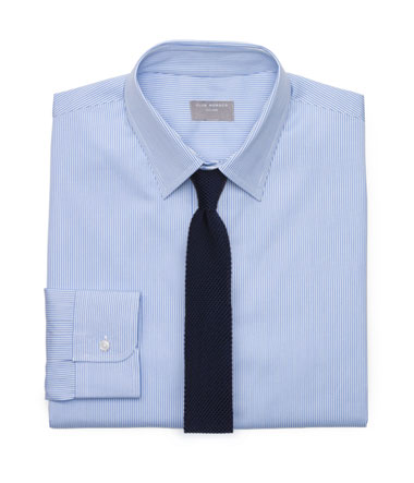 Bright Blue Shirt and Navy Knit Tie