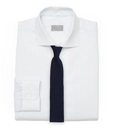 White Textured Tie and Navy Knit Tie