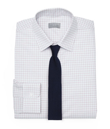 Pink and White Dress Shirt and Knit Tie