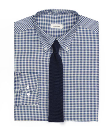 Navy Knit Tie and Gingham Button Down