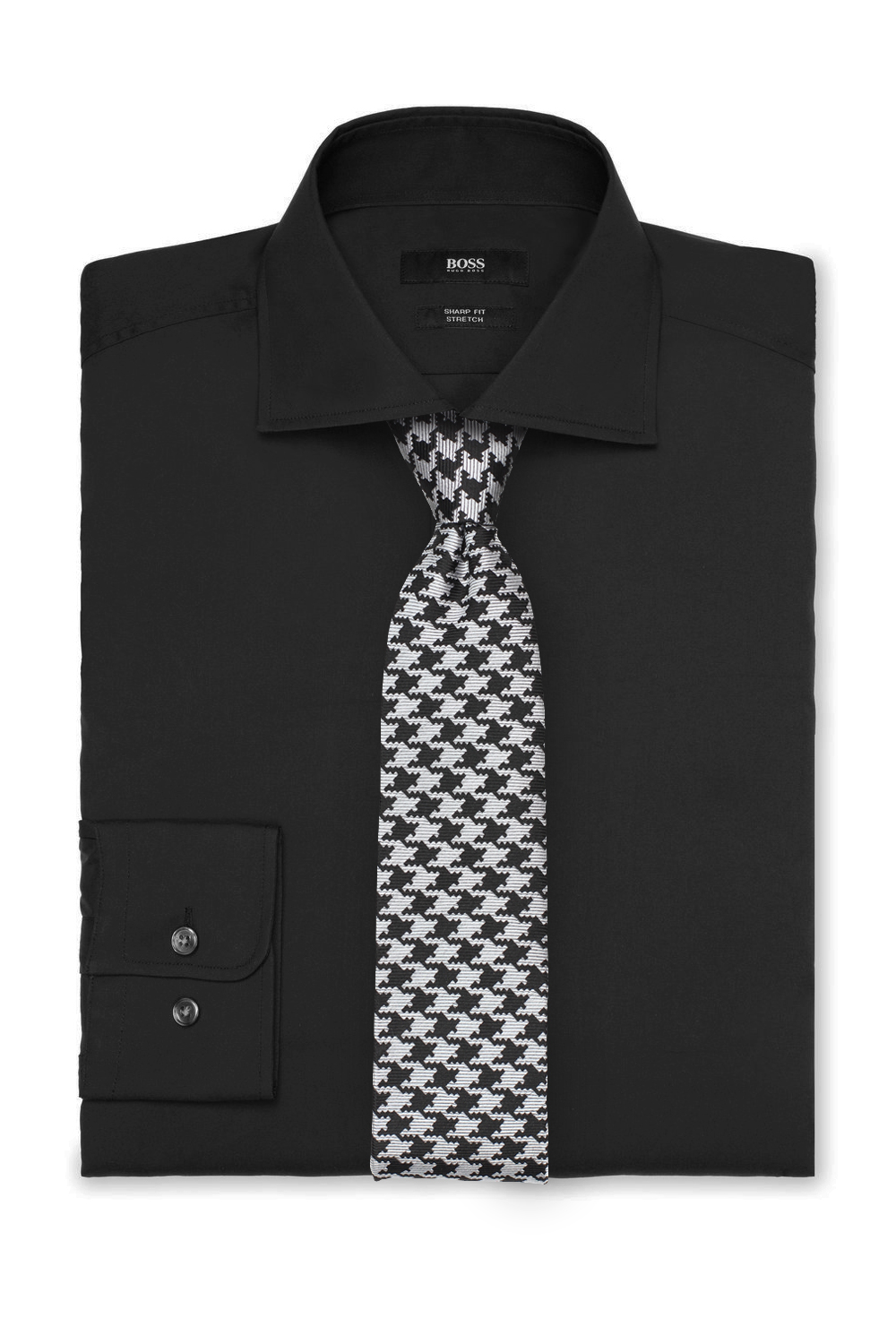 Houndstooth Check Tie and Black Shirt
