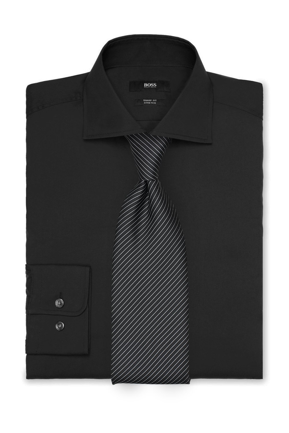 Striped Tie and Black Shirt