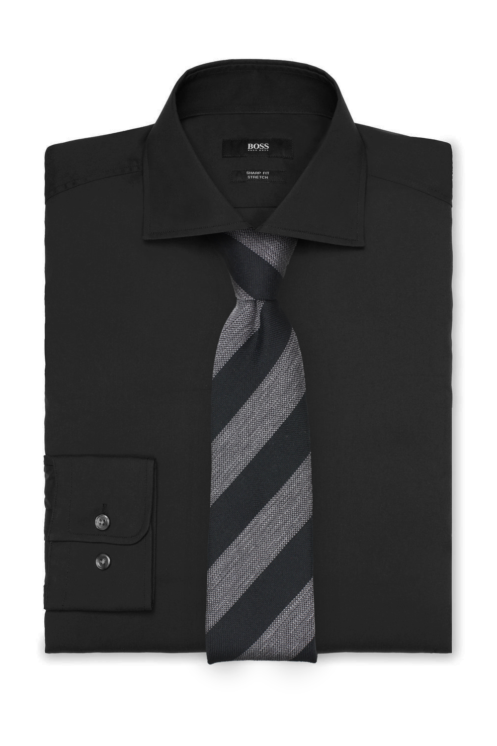 Trendy Striped Tie in Gray and Black