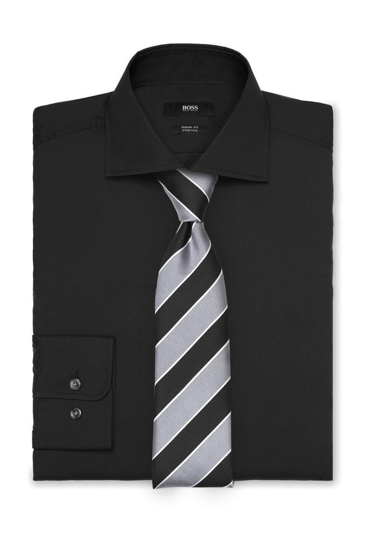 Striped Gray and Black Tie