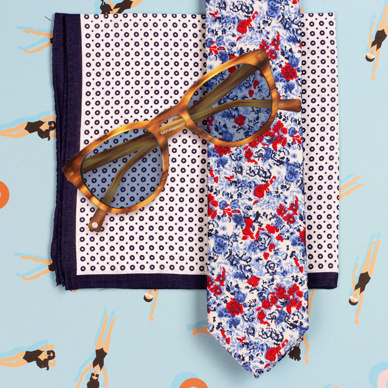 Floral Tie and Tortoise Shell Glasses