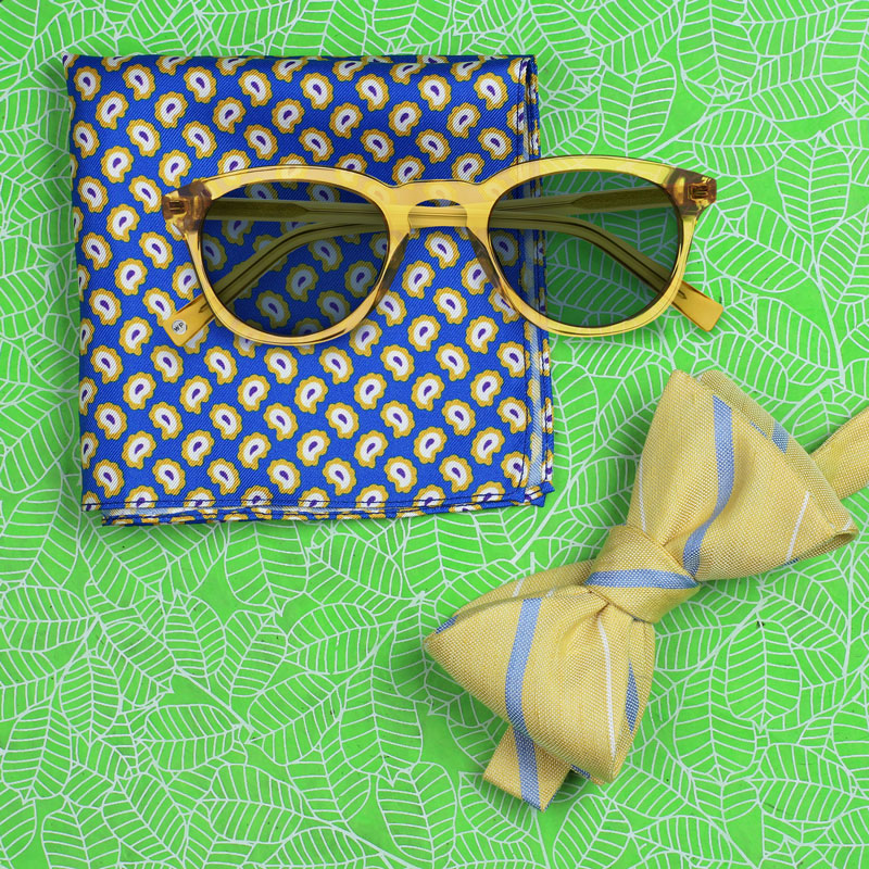 Yellow and Blue Bow Tie and Sunglasses