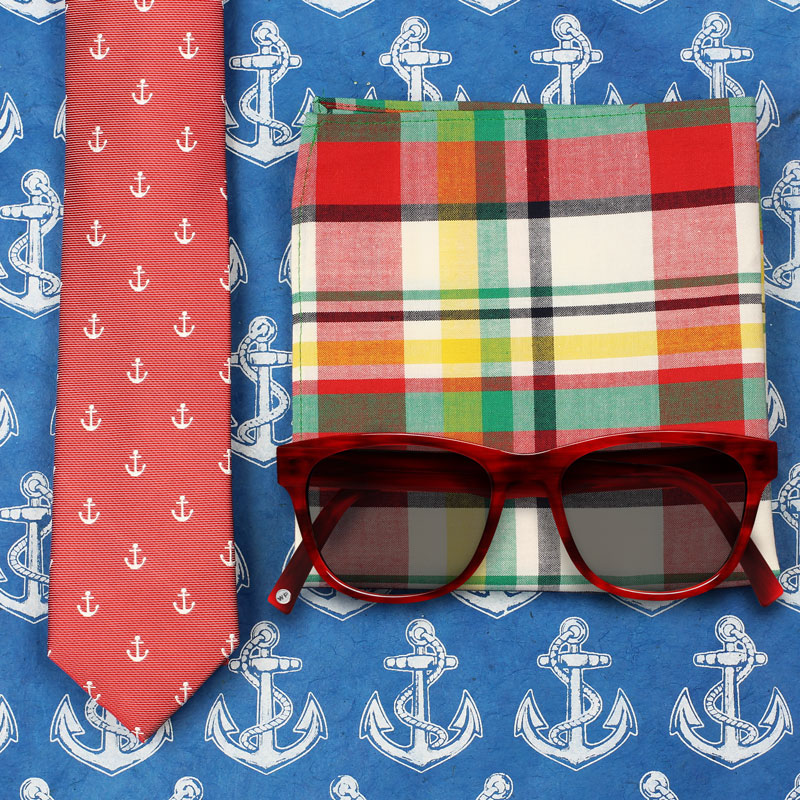 Anchor Tie and Red Sunglasses
