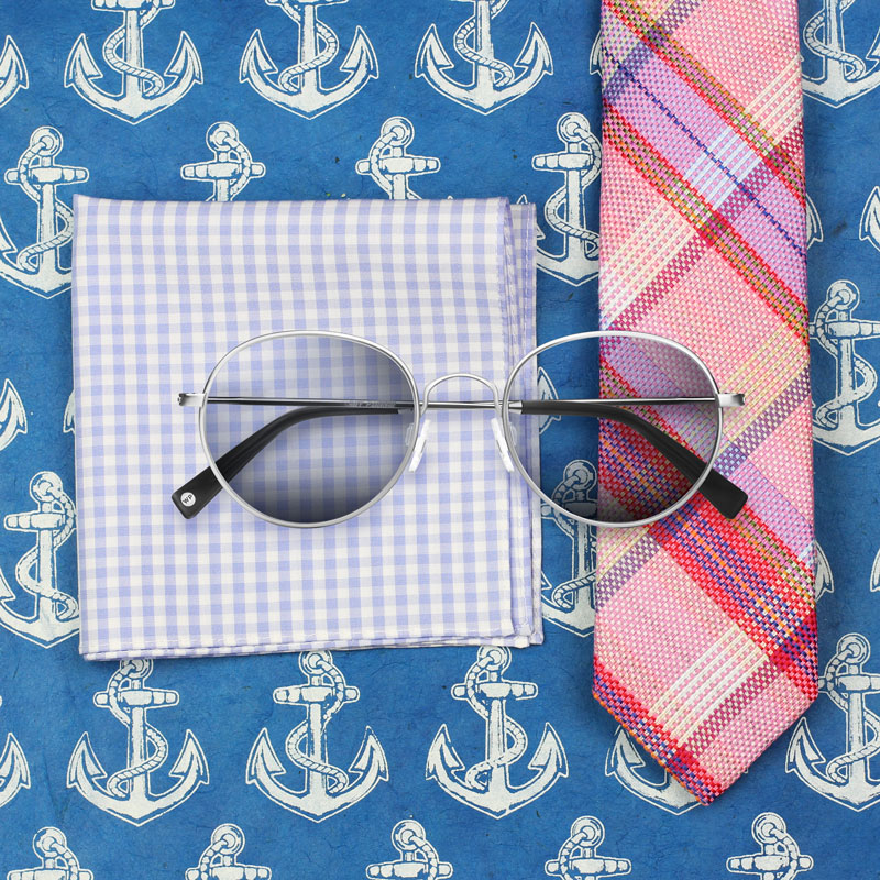 Madras Plaid Tie and Sunglasses
