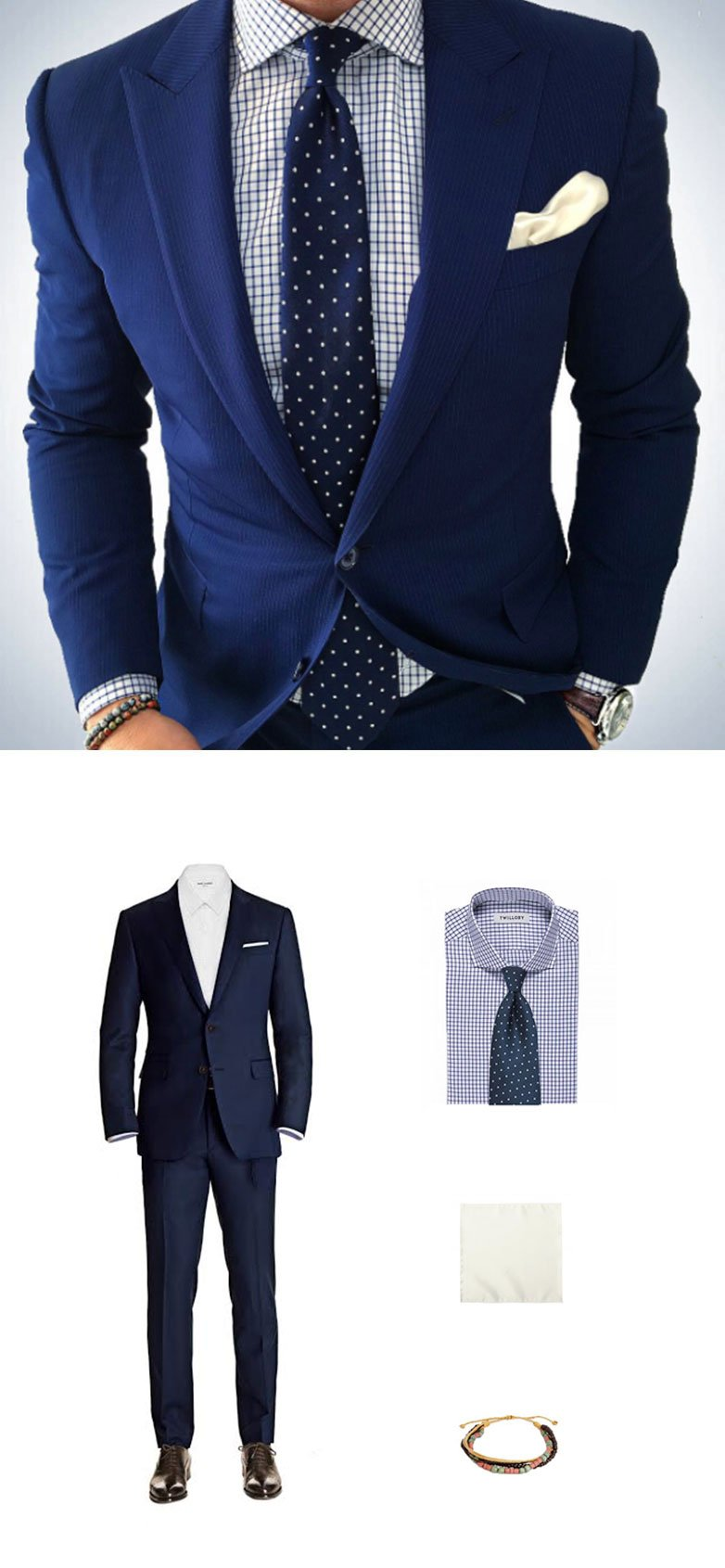1e854eeb2b36 Get The Look - Navy Polka Dot Tie and Blue Suit