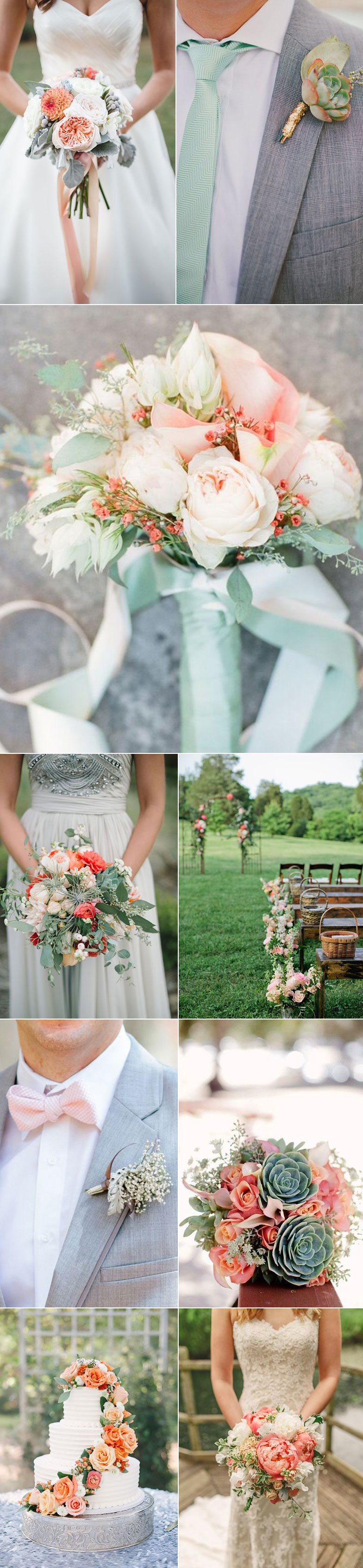 Mint and Coral Wedding Color Combo