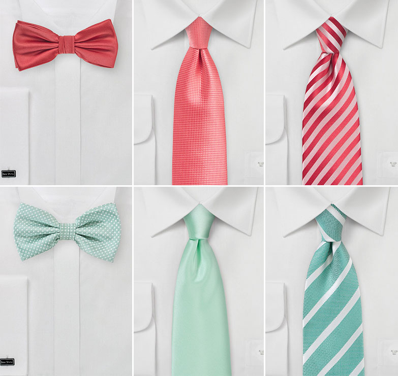 Groomsmen Ties in Coral and In Mint