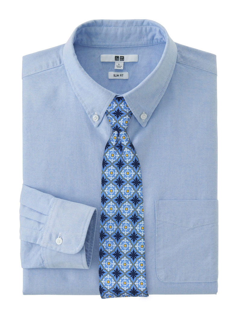 Light Blue Tile Design Cotton Skinny Tie