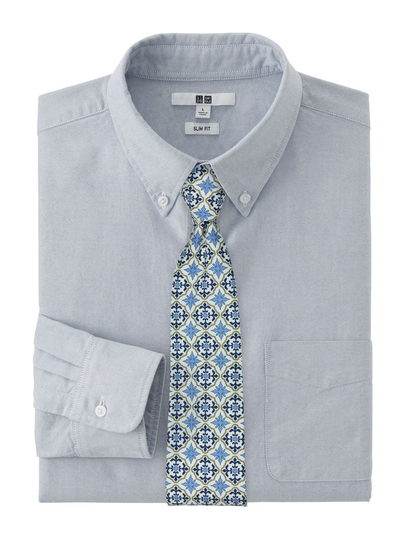 White and Blue Cotton Tile Print Tie