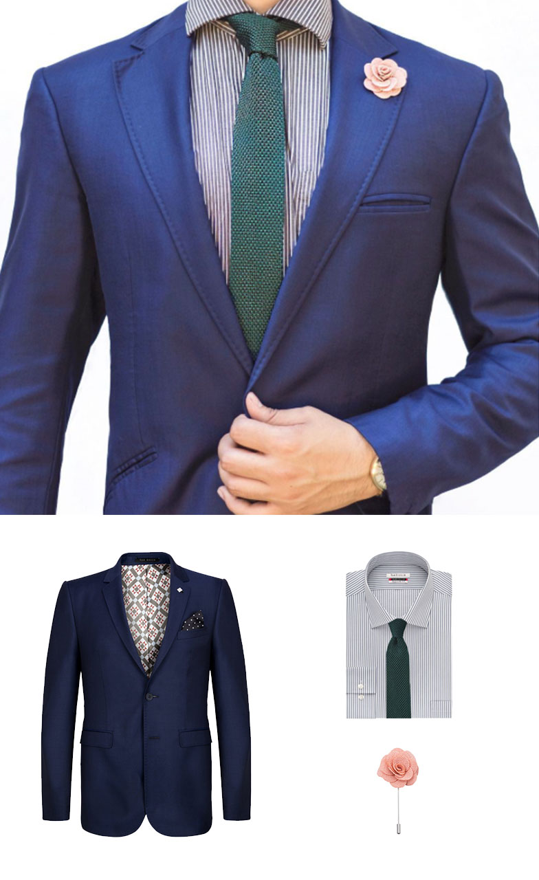 Ivy Green Knit Tie and Pink Lapel