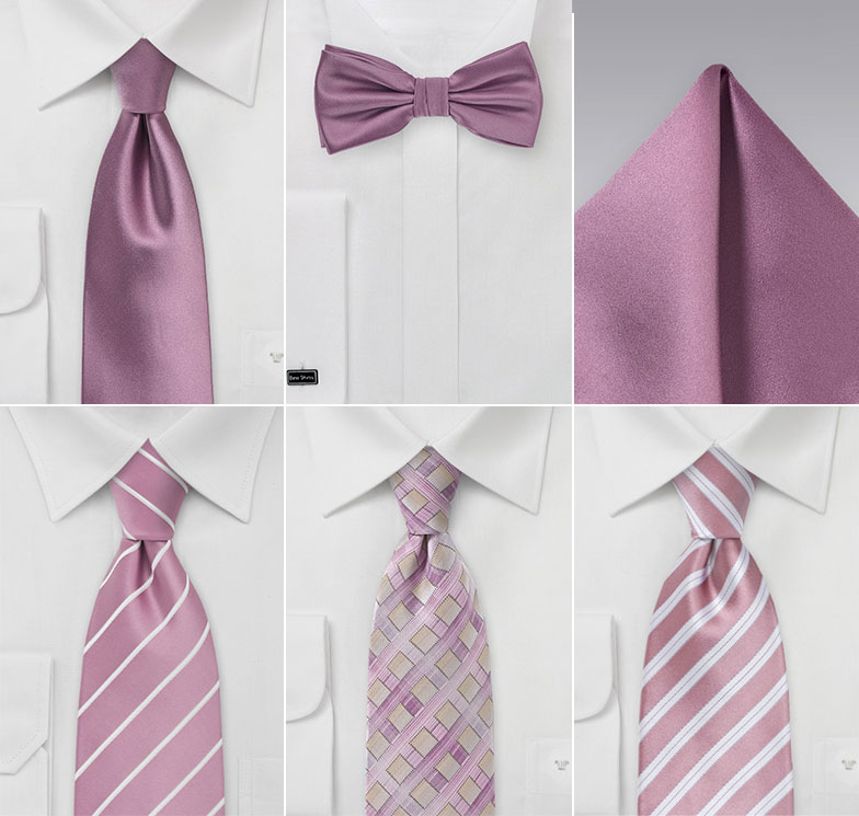Groomsmen Ties in Mauve