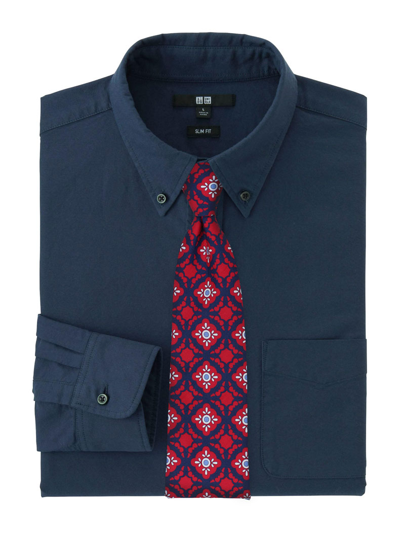 Red and Dark Navy Tile Pattern Cotton Tie