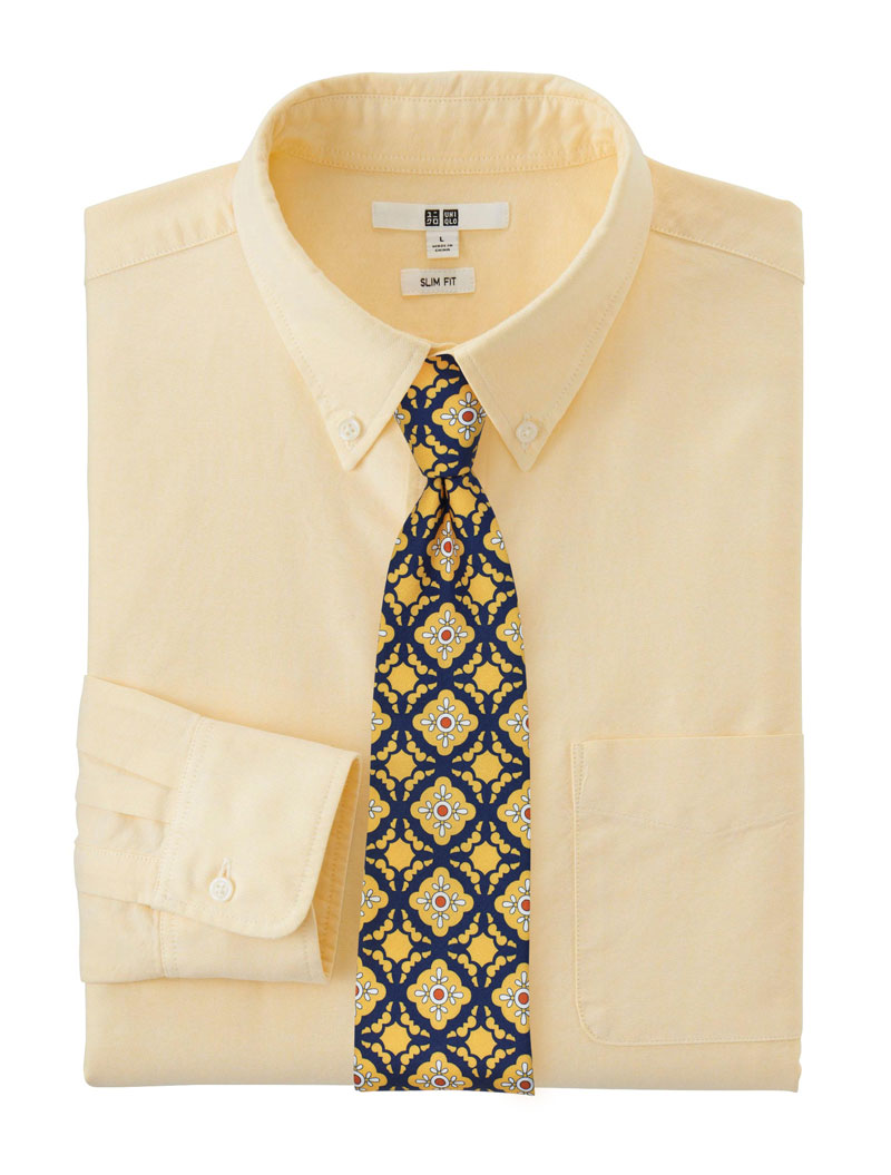 Yellow and navy Mexican Tile Necktie