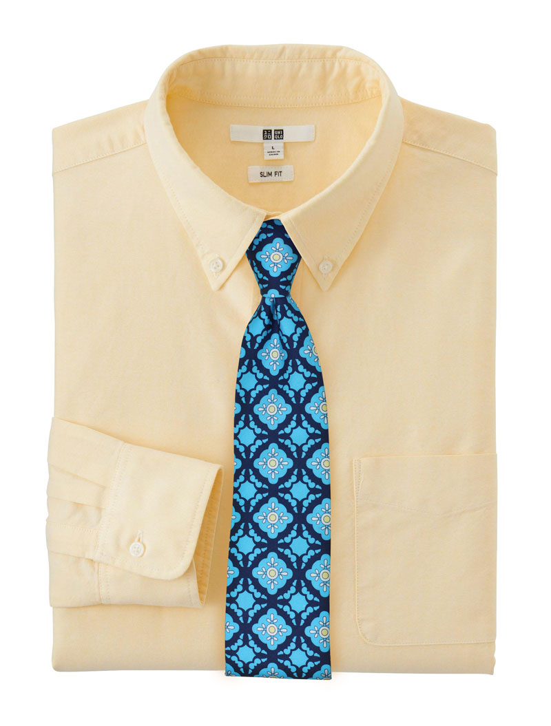Aqua and Blue Tile Pattern Skinny Cotton Tie