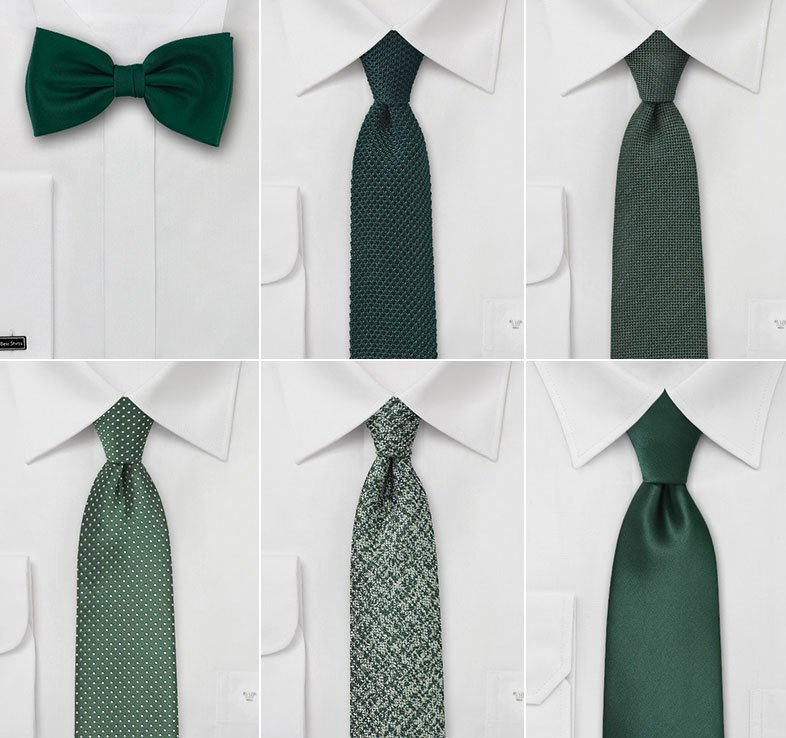 Wedding Ties in Tropical Green