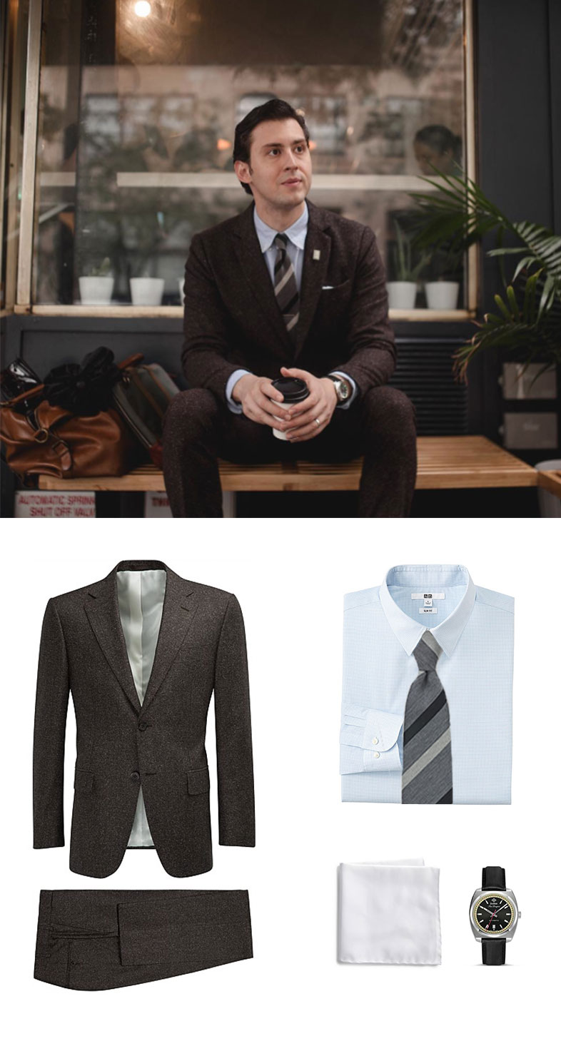Brown Wool Suit and Gray Striped Tie