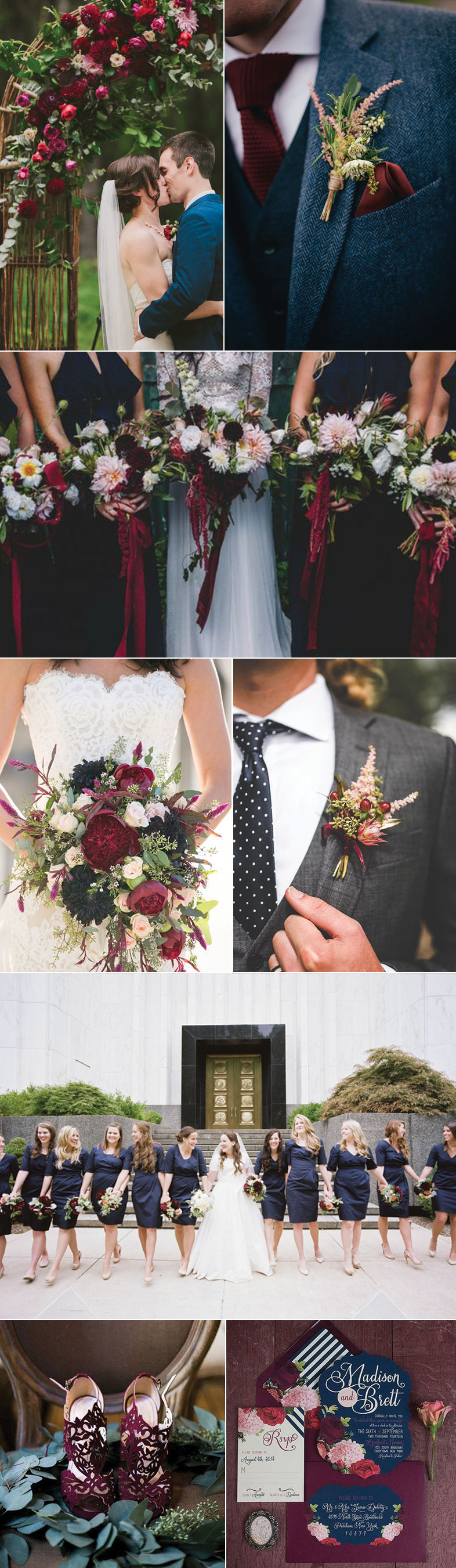 Marsala + Navy Wedding Color Inspiration | Bows-N-Ties.com