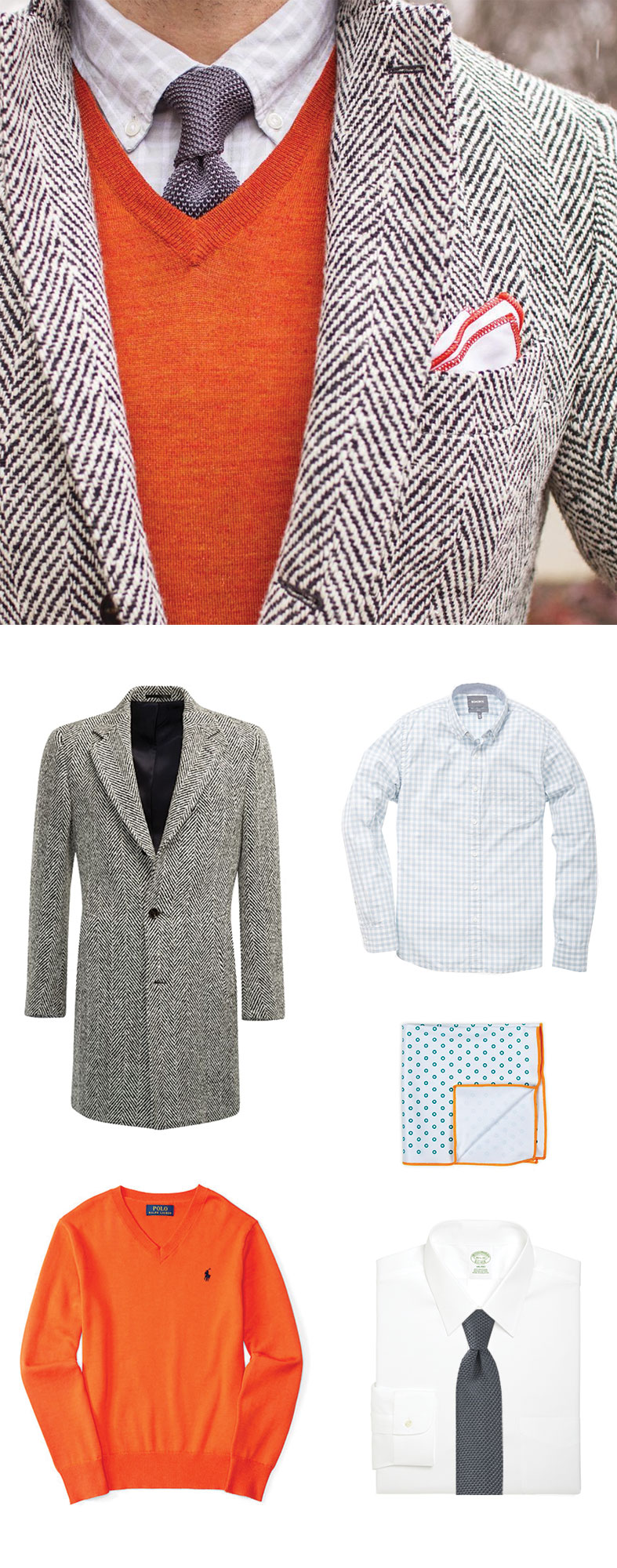 Knit Tie and Orange Sweater